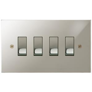 Rocker Switch 4 gang 10 amp 2 way Polished Nickel