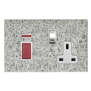 Cooker Switch 2 gang plate 45 amp cooker switch socket outlet  Grey
