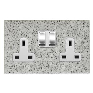 Wall Socket 2 gang 13 amp switch socket outlet Grey
