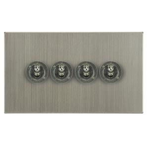 Dolly Switch 4 gang 20 amp 2 way Satin Nickel