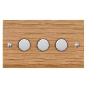 Dimmer Switch 3 gang 250 watt 2 way Oak