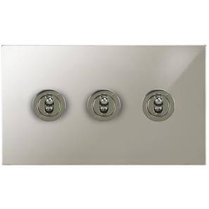 Dolly Switch 3 gang 20 amp 2 way Polished Nickel