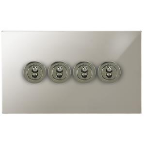 Dolly Switch 4 gang 20 amp 2 way Polished Nickel