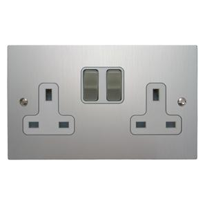Wall Socket 2 gang 13 amp switch socket outlet Aluminium