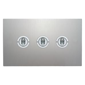 Dolly Switch 3 gang 2 way Aluminium