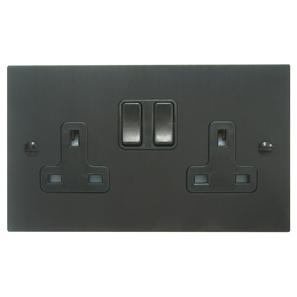 Wall Socket 2 gang 13 amp switch socket outlet Black Aluminium