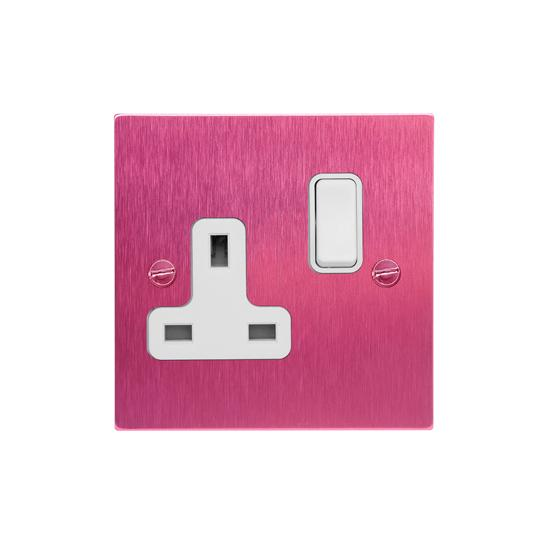 Wall Socket Switch 1 gang 13 amp switch socket outlet Pink Aluminium