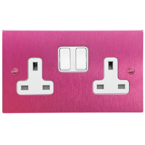 Wall Socket Switch 2 gang 13 amp switch socket outlet Pink Aluminium