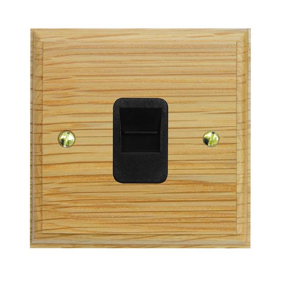 Communications Socket 1 gang telephone jackline master Black Insert / Light Oak
