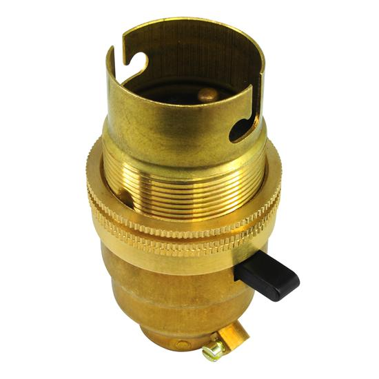 Switched Lamp Holder 13mm Brass BC / B22