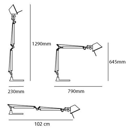 Tolomeo Large Arm & Base Silver 100W