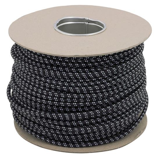 Braided Cloth Round Flex 3 Core Cable 0.75mm² Black White