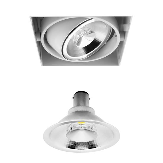 Grid Trimless Single Reality AR70 LED & Driver 8W Dimmable Warm White (2700K)  24° White