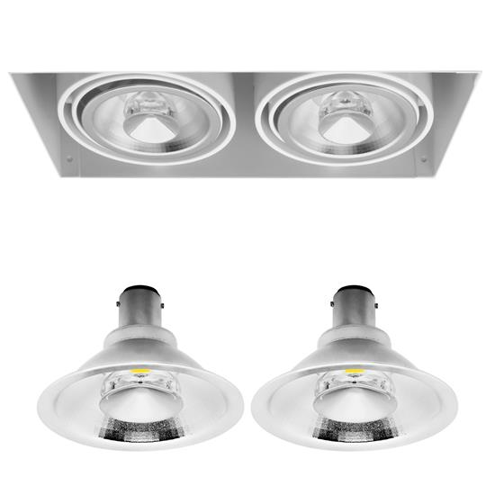 Grid Trimless Double Reality AR70 LED & Driver 8W Dimmable Warm White (2700K)  24° White
