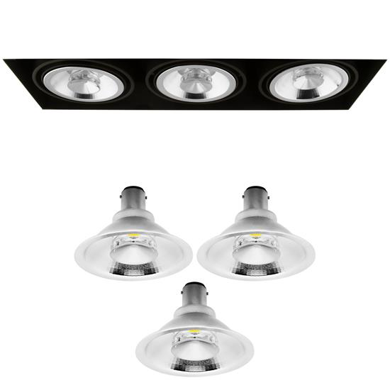 Grid Trimless Triple Reality AR70 LED & Driver 8W Dimmable Warm White (2700K)  24° Black
