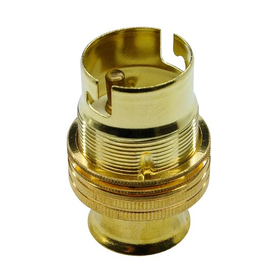 Unswitched Lamp Holder 20mm Brass BC / B22