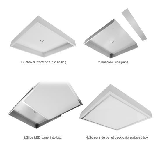 LED Surfaced Panel Light Box Black Kit 24V 600 x 600mm 3000K Warm White 60W