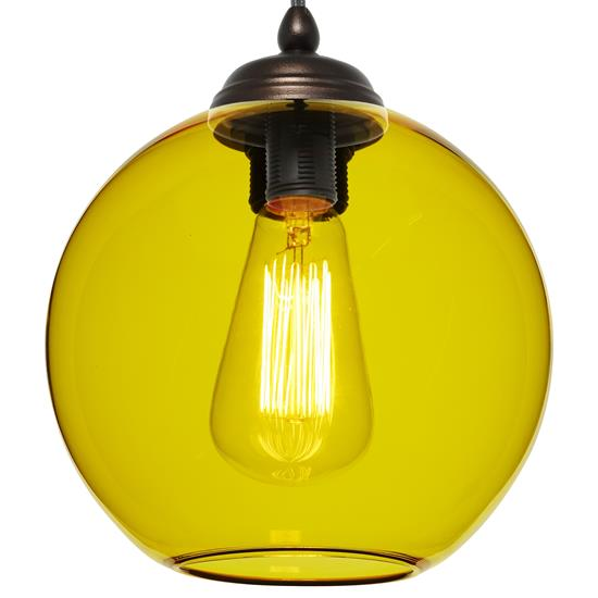 Modica Glass Pendant  60W Yellow / Antique Bronze
