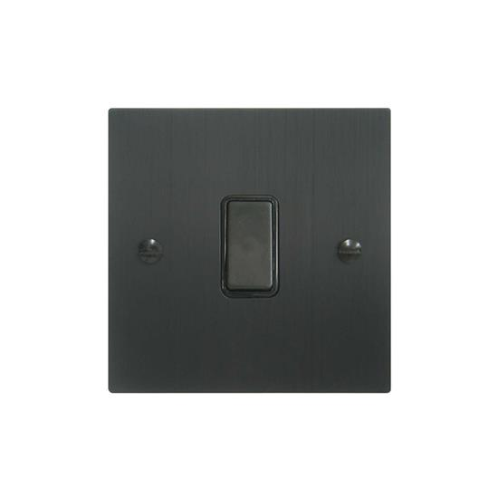 Rocker Switch 1 gang 10 amp 2 way Black Aluminium