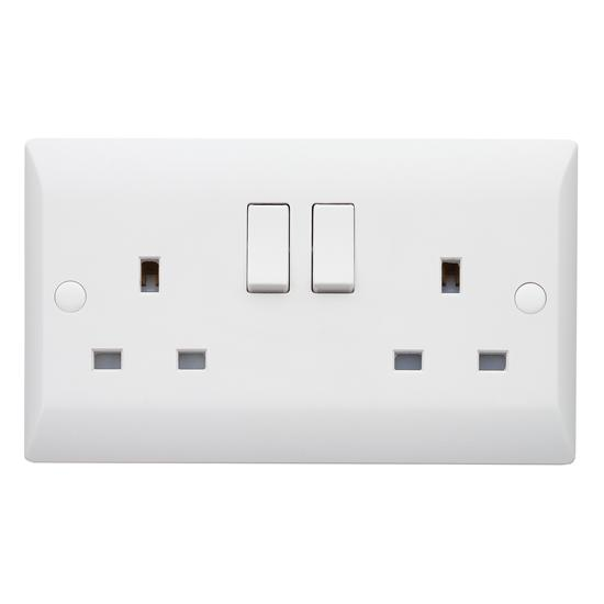 Superswitch Wall Socket 2 Gang 13 Amp Switched Outlet