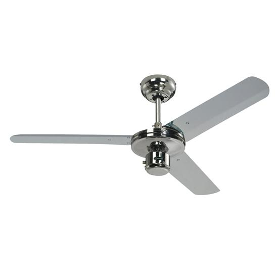 Industrial Ceiling Fan Polished Chrome 1220mm