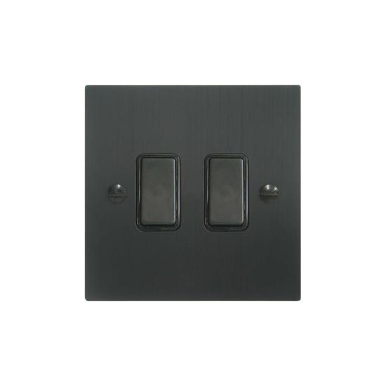 Rocker Switch 2 gang intermediate Black Aluminium
