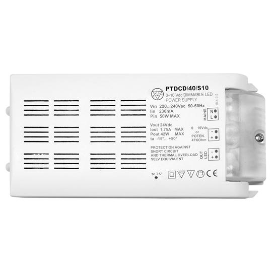 1-10V Dimmable LED Driver (Constant Voltage) White 42W 24V