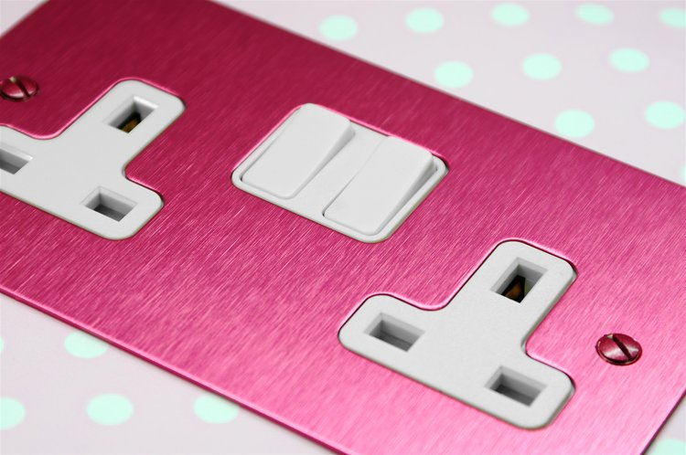 Wall Socket Switch 2 gang 13 amp switch socket outlet Pink Aluminium Example