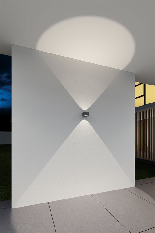 Convex Up and Down Wall Light 240V Black 12W Example