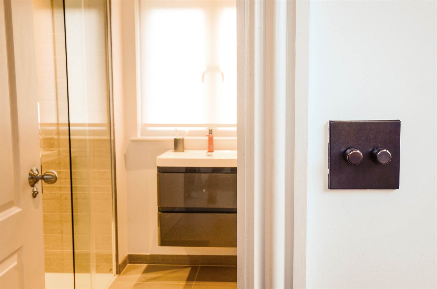 Bronze dimmer switch outside bathroom