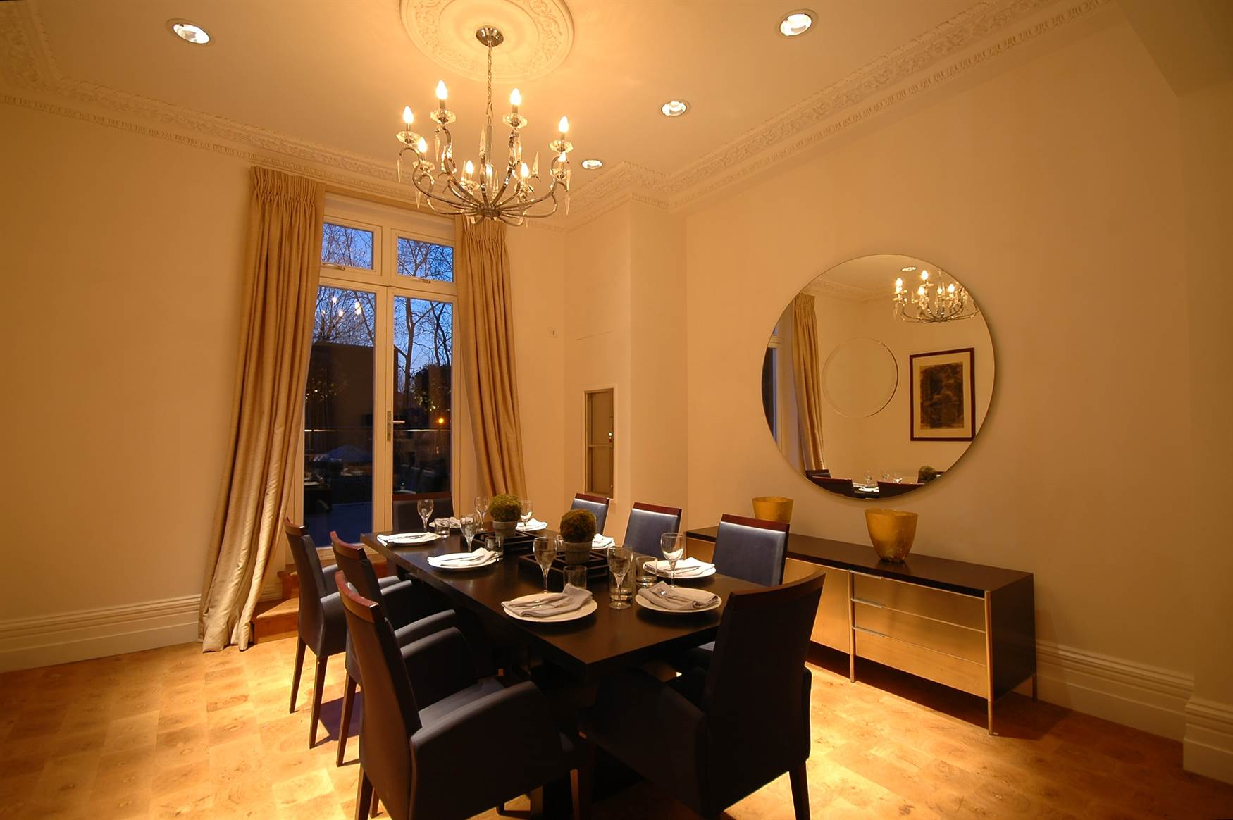 Chandeliers in dining room
