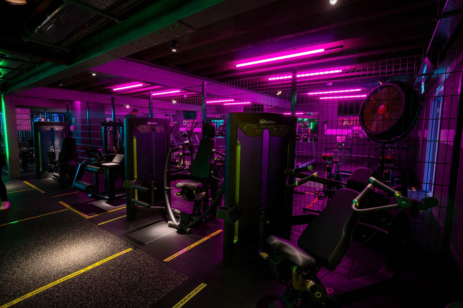Coloured Stick Lights in Gym