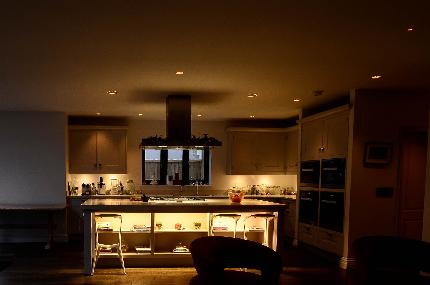 Lighting scene setting controlled by Lutron system