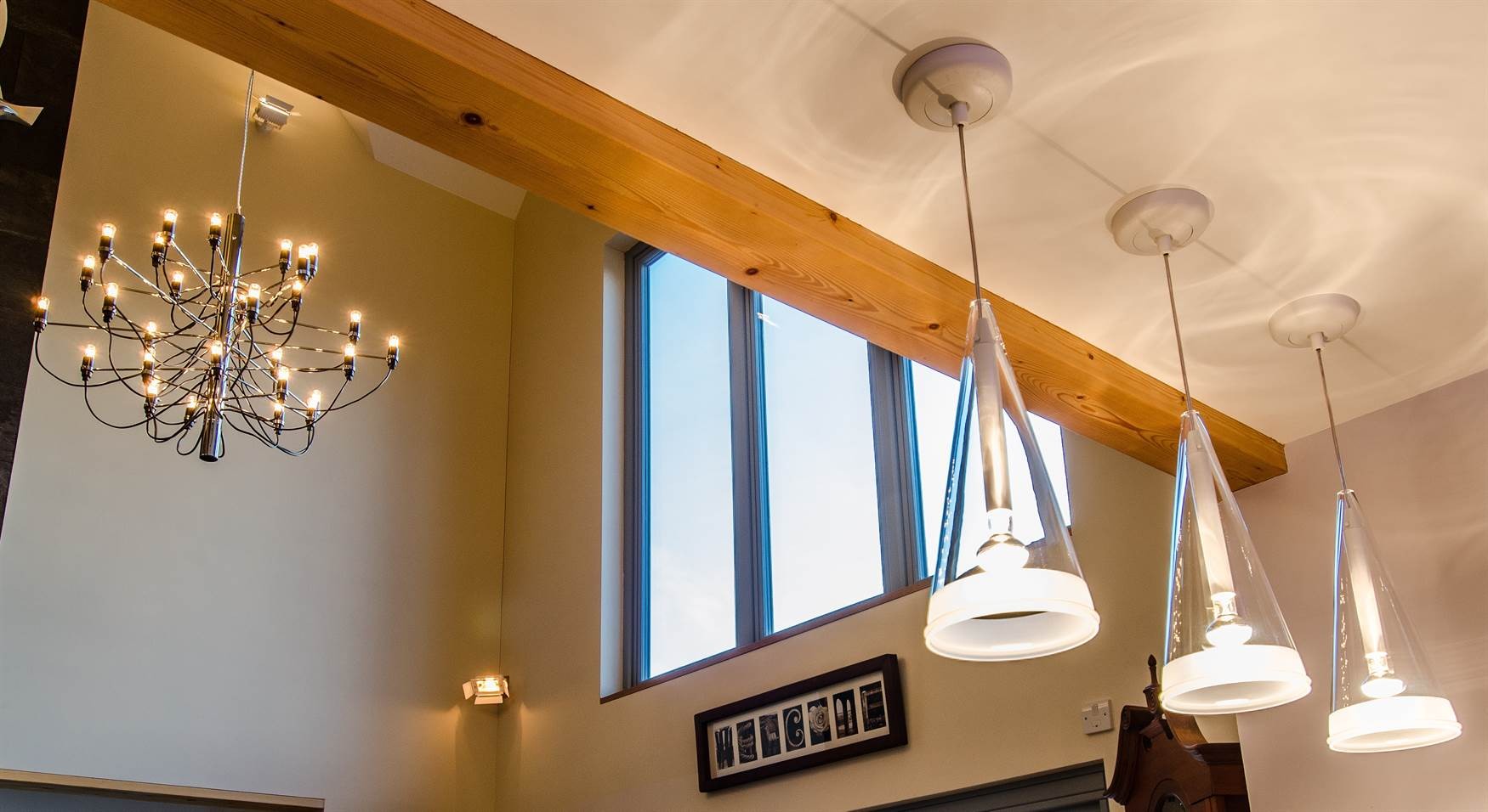 Pendants in open plan kitchen and dining room