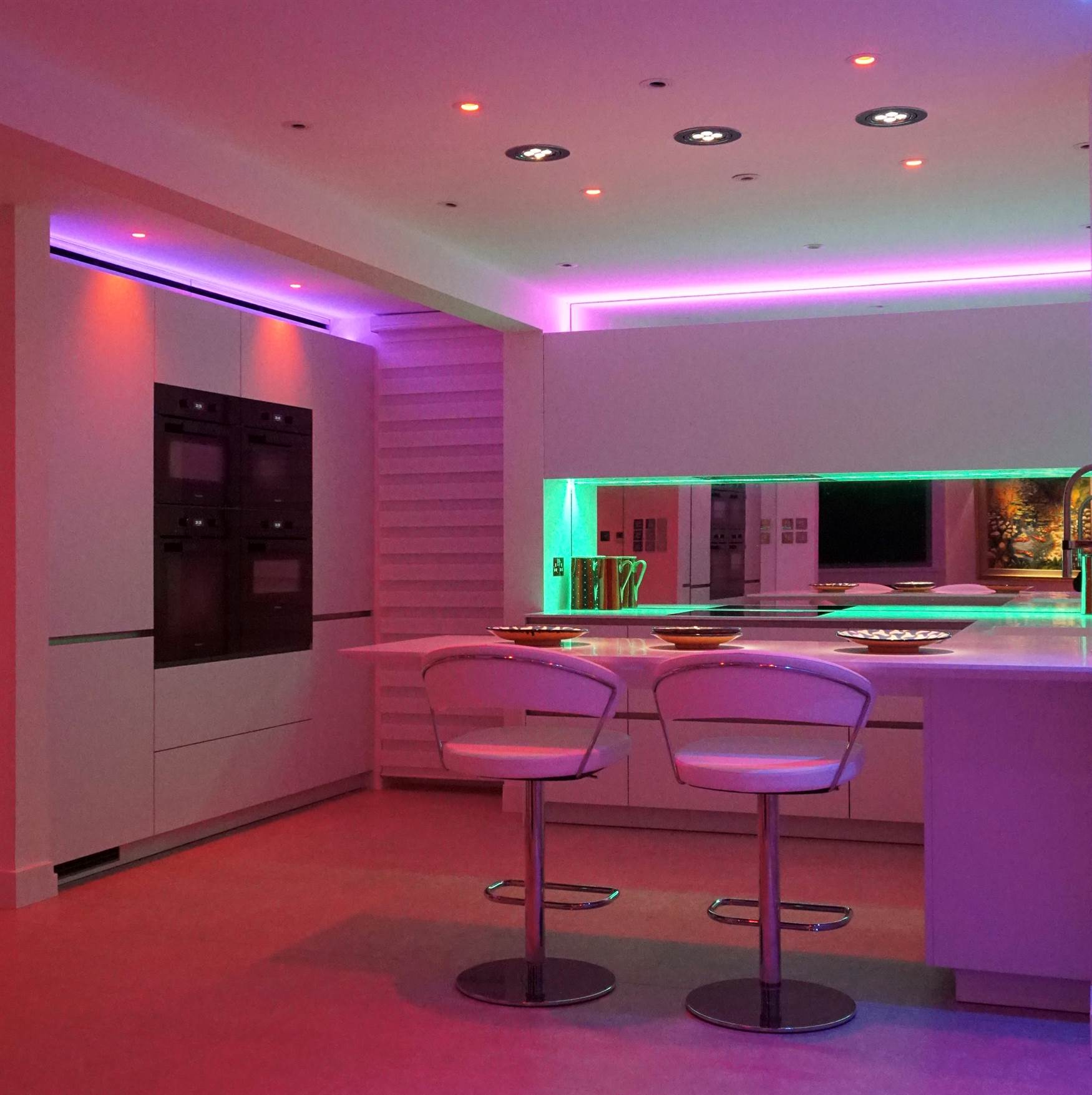 RGBW downlights and LED tape in kitchen